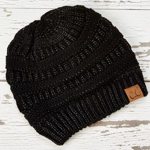 CC Black Metallic Knit Beanie - Women NEW!
